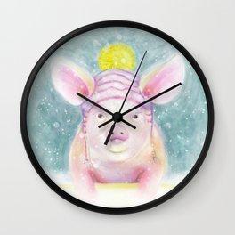Tart Little Piggy in the Snow Wall Clock