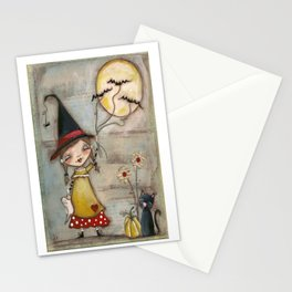 Walking The Bats - Halloween Art Stationery Cards