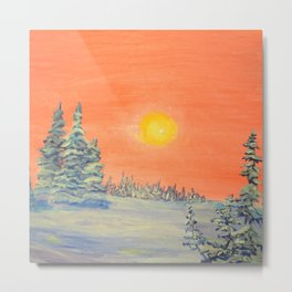 winter trees snow and sun . artwork Metal Print