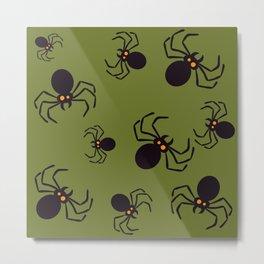 Halloween Green Spider Pattern Metal Print