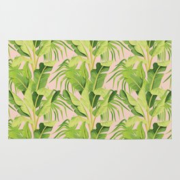 banana tree pink pattern Rug