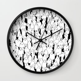 Public assembly B&W / Lineart people pattern Wall Clock