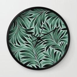 Artistic Leaves Aqua Grey Color Scheme Wall Clock