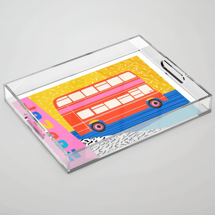 Uncle Gus - london art print, double decker bus art print, anglophile, wacka, 80s, Acrylic Tray
