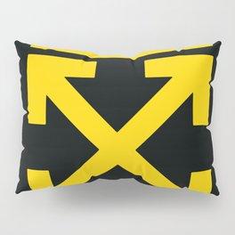Yellow Arrows Cross Cut Off White Pillow Sham