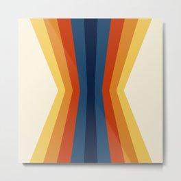 Bright 70's Retro Stripes Reflection Metal Print