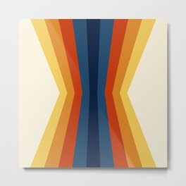 Bright 70's Retro Stripes Reflection Metal Print
