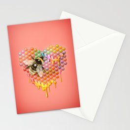 valentines heart, bumblebee, beehive Stationery Cards
