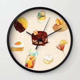 Orange Desserts Wall Clock