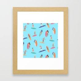 Surfer water sports athlete surfboard pattern Framed Art Print