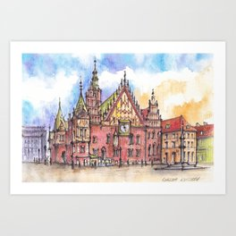 Wroclaw Poland ink & watercolor illustration Art Print