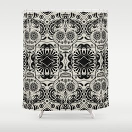 Sugar Skull Art B&W Shower Curtain