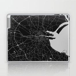 Black on Light Gray Dublin Street Map Laptop & iPad Skin