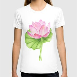 Abstract pink lotus on white background T-shirt