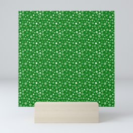 Evergreen Green & White Christmas Snowflakes Mini Art Print