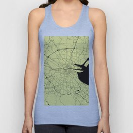 Yellow on Black Dublin Street Map Unisex Tank Top