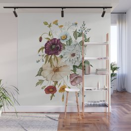 Colorful Wildflower Bouquet on White Wall Mural