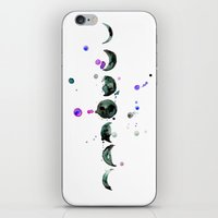 moon phase iPhone & iPod Skins featuring Moon Phase by tigermlk
