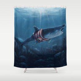 Shark in a Shirt Shower Curtain