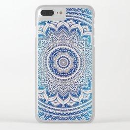 Teal And Aqua Lace Mandala Clear iPhone Case