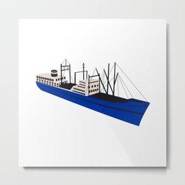 Vintage Cargo Ship Retro Metal Print