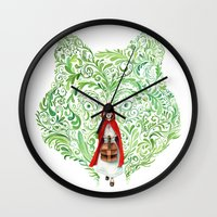 red riding hood Wall Clocks featuring Red Riding Hood by Stephane Lauzon