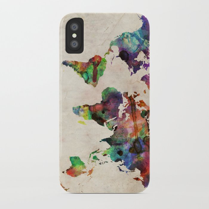 Urban Watercolor World Map.World Map Urban Watercolor Iphone Case By Artpause Society6