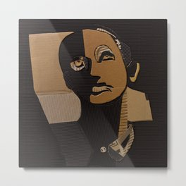 male portrait in cardboard collage Metal Print