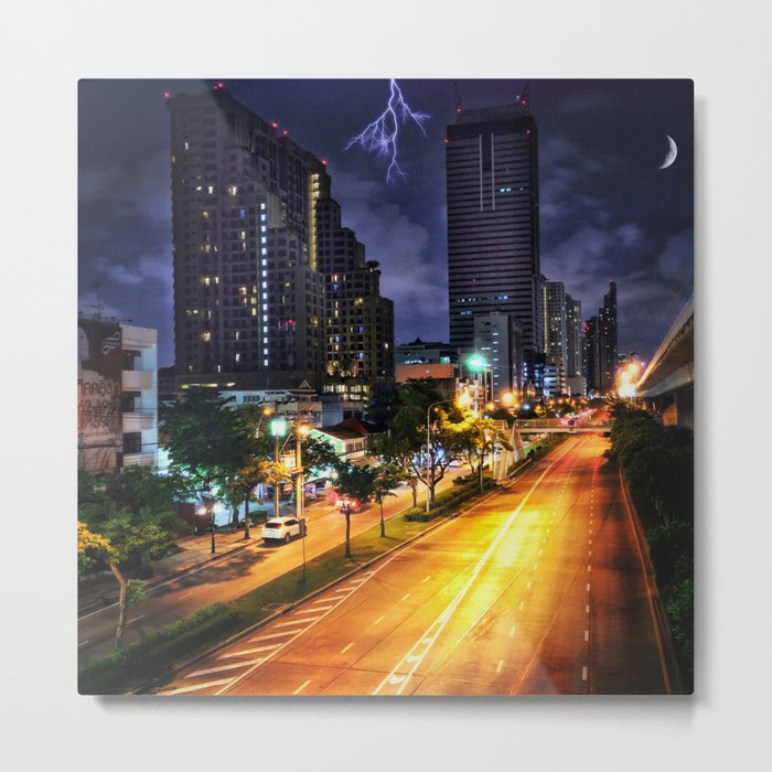 Bangkok Night Street View with Dramatic Sky Metal Print