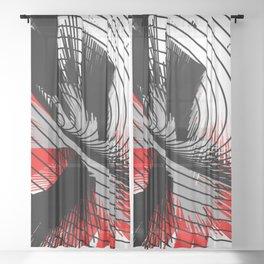 whirlwind abstract red white black grey digital geometric art Sheer Curtain
