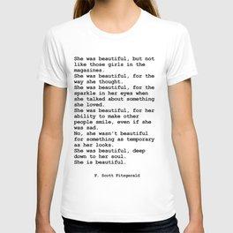 She was beautiful by F. Scott Fitzgerald #minimalism #poem T-shirt