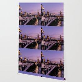 Sunset over Paris Bridge (Color) Wallpaper
