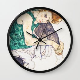Girl sitting with knees up by Egon Schiele Wall Clock