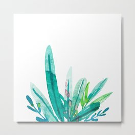 Green Tropics on White Metal Print