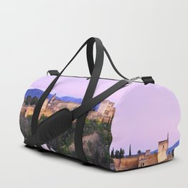 La Alhambra, Sierra Nevada and Granada. At pink sunset Duffle Bag