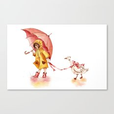 Rainy Day - Girl in a Yellow Rain Coat with Read Umbrella and with a Goose Canvas Print