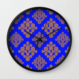 Royal Blue Mid-Century Shapes Pattern Wall Clock