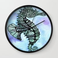 tatoo Wall Clocks featuring Tatoo Seahorse by PepperDsArt