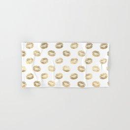 White & Gold Lip Pattern Hand & Bath Towel