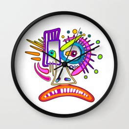 TRIBAL FROWNIE EMOJI ART Meemogie Wall Clock