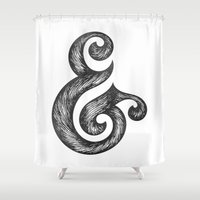 ampersand Shower Curtains featuring Ampersand by Norman Duenas