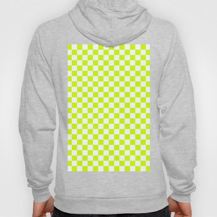 Small Checkered - White and Fluorescent Yellow Hoody