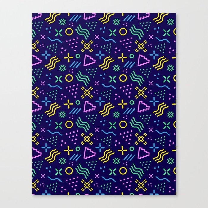 Retro 80s Shapes Pattern Canvas Print