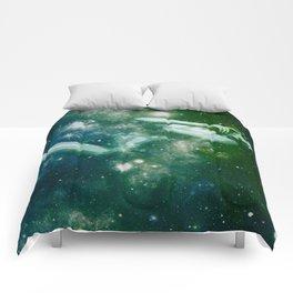 Green Teal Galaxy Girl Comforters