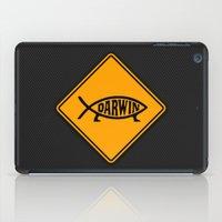 darwin iPad Cases featuring Darwin Fish Road Sign by Max Headroom