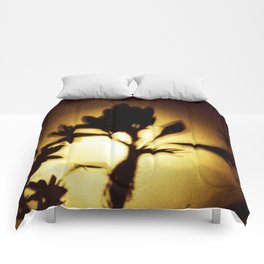 Yellow and Black Floral Shadow Art Print Comforters