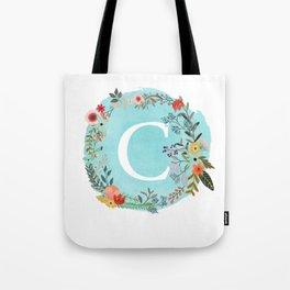 Personalized Monogram Initial Letter C Blue Watercolor Flower Wreath Artwork Tote Bag