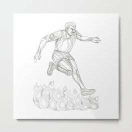 Obstacle Racer Jumping Fire Doodle Art Metal Print