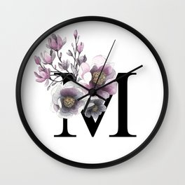 Letter 'M' Magnolia Flower Typography Wall Clock