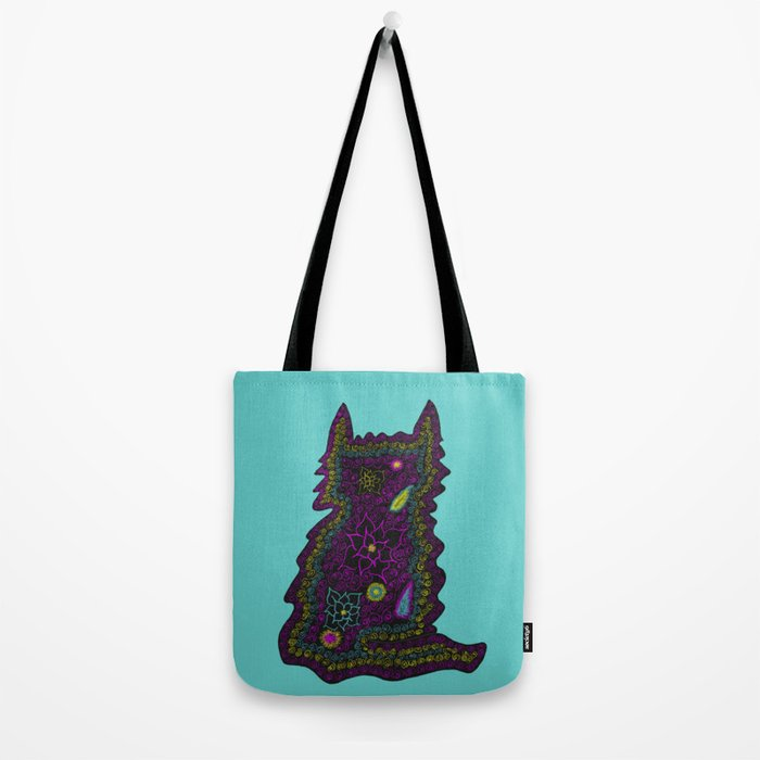 Black Cat With Roses Tote Bag